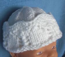 White lace baby hat 0 to 6 months Brand New Hand knitted Original pattern