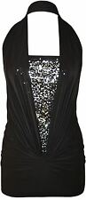 New Womens Plus Size Ruched Halter Neck Sequins Boob Tube Top 8-16