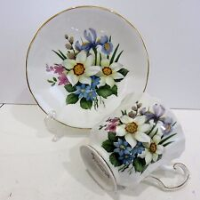 Vintage Elizabethan Bone China Teacup & Saucer Flowers of the Season, Hand Paint