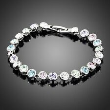 Luccicante Cristallo Swarovski Element Round Multi Colore Bracciale Tennis Donna Regalo