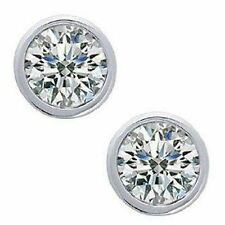 1.12 carat Round brilliant DIAMOND STUDS Earrings 14K White Gold, G color SI2