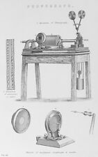 OLD PRINT PHONOGRAPH MUSIC MACHINE c1880's MOUTHPIECE DIAPHRAGM 19th C ENGRAVING