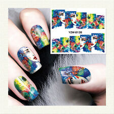 2 Sheets Nail Art Water Decal Girl Painting Design Manicure Transfer Sticker DIY