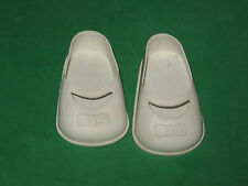 "VINTAGE WHITE MOLDED VINYL  DOLL SHOES -1 3/4"" X 3""-SIZE 9 1/2 T"