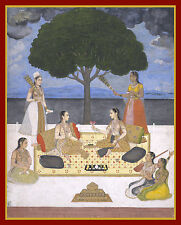 India Miniature Painting Reproduction: A Musical Gathering - Fine Art Print