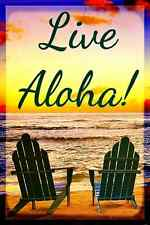 *LIVE ALOHA*  MADE IN HAWAII! METAL SIGN 8X12 WAIKIKI MAUI BIG ISLAND PEACE LOVE