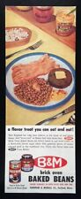 1958 B & M Brick Oven Baked Beans 1 plate baked beans bacon vintage print ad