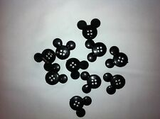 Mickey Mouse Black Plastic Buttons/ Four holes /Sewing supplies / 10 Buttons
