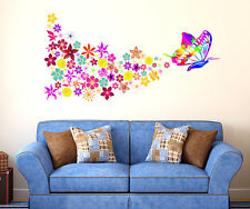 Wall Stickers Butterfly Big Size with Colorful Flowers Blowing Sofa Backdrop