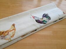 Roman Blind Chook Chicken Farmyard Fowl Linen Interlined Mechanised Track MTM