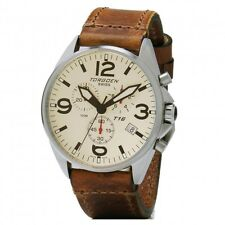 New Torgoen Swiss T16 T16CR45V Men's Chronograph Pilot Wrist Watch Leather Strap
