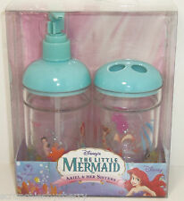 Disney Store Little Mermaid Toothbrush Holder Lotion Soap Pump Ariel and Sisters