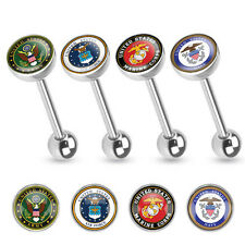 T#108 - 4pc US Military Logo Tongue Tounge Rings Army, Navy, Marines, Air Force