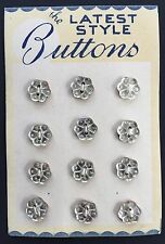Vintage Glass Buttons - 12 Silver Foil Backed Flower 2-hole buttons