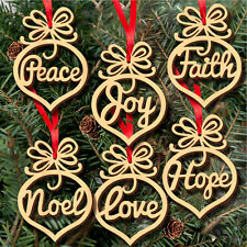 6pcs Wood Embellishments Rustic Christmas Tree Hanging Ornament Decor qe