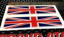 "Great Britain Flag Proud Domed Decal Emblem Flexible 3D 4""x1"" Set of 2 Stickers"