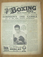 VINTAGE BOXING NEWS MAGAZINE JANUARY 2nd 1952 RAY ROBINSON OUT TO WIN 3rd TITLE