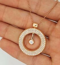 18K SOLID PINK ROSE GOLD MOVING DIAMOND ROUND CIRCLE OF LIFE PENDANT NECKLACE