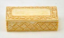 """Vintage Chinese Bone Hand Carved Rectangular Treasure Jewelry Box 2.5"""""""