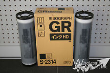2 Riso S-2314 High Density Black Ink Tubes Risograph GR 3770 HD Duplicator Ink