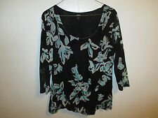 Apt 9 womens XL black aqua floral double layer mesh 3/4 sleeve knit top shirt