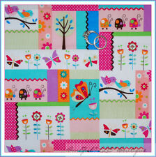 BonEful Fabric Cotton Quilt Pink White Dot Ladybug Bird Flower Patchwork S SCRAP