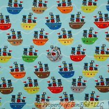 BonEful Fabric FQ Flannel Cotton Quilt Blue Red White Pirate Ship Skull Boat Boy