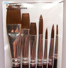 7 Artist Paint Brushes Round & Flat Synthetic 4 Acrylic, Watercolor & Oils - New
