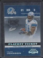 CALVIN JOHNSON 2007 PLAYOFF CONTENDERS PLAYOFF TICKET ROOKIE RC #D 54/99