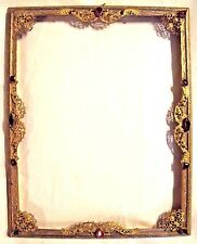 ***** Beautiful Antique Vintage Gilt Metal Frame with Jewels *****
