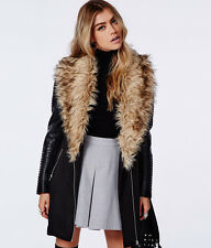 BN womens England fur collar Fold leather sleeve wool thick jacket coat trench