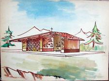 Acquerello '900 su carta Watercolor Architettura futurista cubista razionale-82