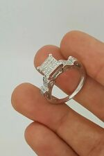 14K WHITE GOLD PRINCESS & ROUND CUT DIAMOND WEDDING ENGAGEMENT RING SIZE(able) 7