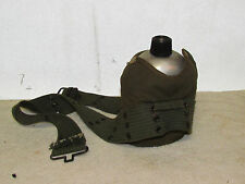 Vintage Army Style Metal Canteen with Canvas Pouch & Belt