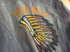 """DOUBLE D RANCH """"WILD ONES"""" DENIM SHIRT SIZE 1X  MOTHER OF PEARL SNAP BUTTONS"""