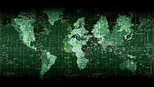 Poster – World Map Matrix Style (Picture Art Globe Atlas Binary Code C++ Linux)