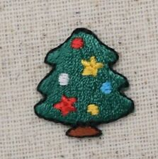 Iron On Embroidered Applique Patch -Christmas Tree Colorful Ornaments Star MINI