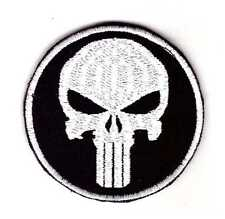 Army Tactical Morale Patch Punisher Skull Silver-Black Color Hook & Loop