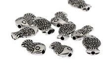 20pcs Antique Fish Beads 3D Tibetan Silver Charms Spacer DIY Bracelet 10*7mm