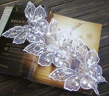 5PCS Large Embroidered Sequins White butterfly Sewing Appliques Wholesale HT02