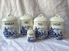 Vintage Czechoslovakia Canister Set  5 Jars with Lids G40 Blue & White Windmills