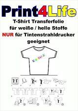 20 Bl. T-Shirt Transferfolie Inkjet für helle Stoffe klar durchsichtig Tinte