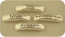 "2 Hole Beads Inspiration ""Happiness Dream Love Joy"" Engraved Metal Sliders QTY 4"