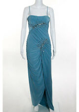 NWT MIGNON Antique Blue Beaded Ruche Detail Evening Gown Sz 6 $350 5491966