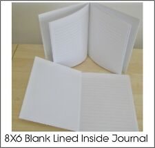 BLANK WHITE HARDCOVER LINED INSIDE JOURNALS FOR ADULTS & KIDS (60) PGS. 8X6