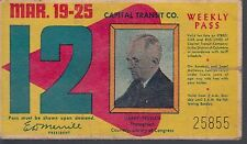 Trolly/Bus pass capital Transit Wash. DC--1950 Harry Truman-----18