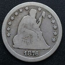 USA 1876 CC Seated Liberty Quarter Dollar 25 Cent Carson City Silber Selten 1968