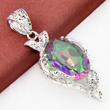 Dazzling Oval Cut Mystic Rainbow Colored Topaz Silver Charming Necklace Pendant