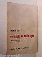 ELEMENTI DI PSICOLOGIA Luigi Stefani Sei 1957 libro scuola manuale corso di