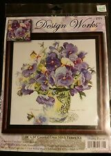 Pansy Floral Counted Cross-Stitch Kit by Design Works, Adelene Fletcher